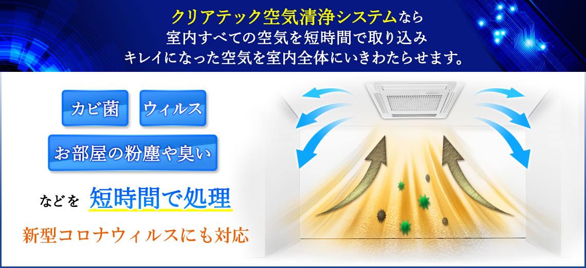 クリアテック空気清浄システムならお部屋の粉塵や細菌、タバコの煙など短時間で処理。快適な環境をご提供いたします